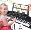 Piano numérique portable enfant, pour apprendre à jouer sur 61 touches, clavier électronique pour enfants débutants, avec microphone musical