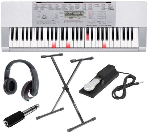 Piano numérique CASIO LK 280 blanc avec casque, support, et pédale de sustain, pour apprendre et jouer au piano avec touches lumineuses top5