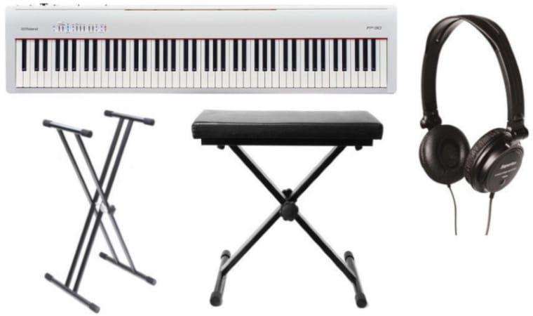 Piano numérique ROLAND FP 30 blanc avec support clavier, banquette siège, et casque audio, pour jouer en silence, idéal apprentissage piano top5